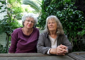 Isabel Mitchell (left) takes a break in the shade with Maureen Booth.