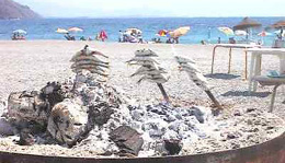 Sardines roasting over hot coals on the Mediterranean beach at Almuñecar