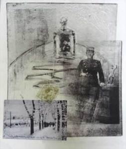 """Grafik fra serien """"ane-billeder"""" af Birgitte Lykke Madsen. Aquatinte, xerolito og chin collé. 2008."""