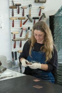 Anita Hunt inking copper